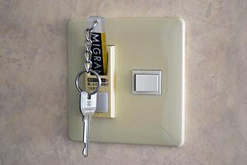 省エネルームスイッチ キーのスティックを差し込むと電気がつきます。