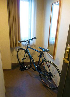 自転車をお部屋に持ち込みできます。