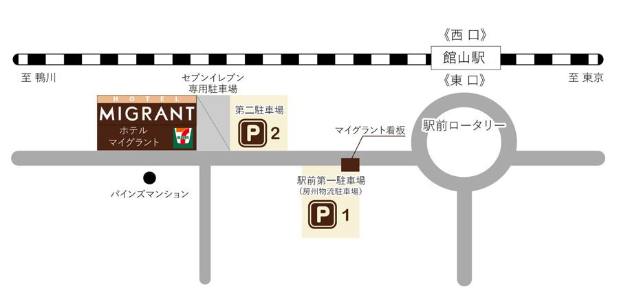 ホテルマイグラント駐車場マップ